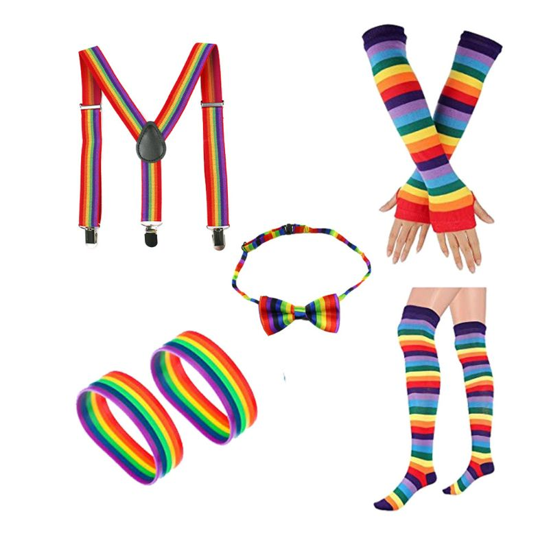 Adult Children Rainbow Cosplay Costume Set Bowtie Suspenders Knee Socks Fingerless Long Gloves Bracelets 80s Retro Party