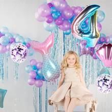 Fengrise a pequena sereia balão feliz aniversário decoração da festa de aniversário crianças sereia festa de aniversário favor do chá de fraldas presentes