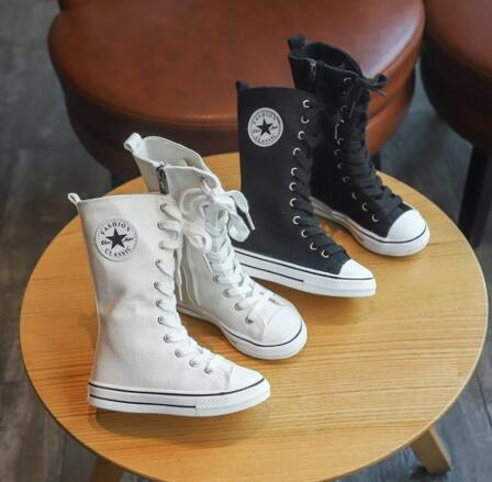 Spring Autumn Baby Canvas Shoes For Boys Girls Denim Shoes Kids High Cut Shoes Children Mid Calf Boots Lacing Up 4 To 14 Yrs