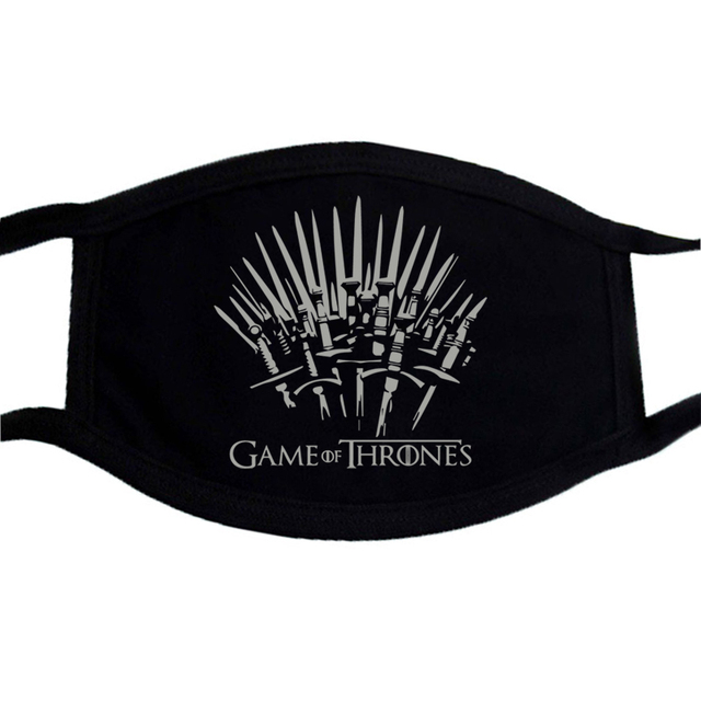 Game of Thrones Printing Mask Black Mouth-Muffle Washable Respirator Fabric Face Mask Reusable Fashion Mouth Cover Kpop 3