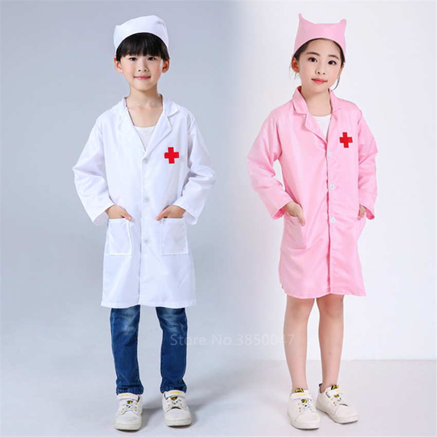 Girl Boy Doctor Nurse Medical Uniforms Kids White Surgical Cap Robe Lab Coat Children Scrub Cap Medico Hospital Cosplay Costumes image
