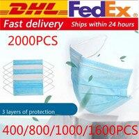 dhl masks 500/800/1000/2000pcs Disposable Protective Mask 3 Layers Dustproof Facial Protective Cover Masks anti virus Masks