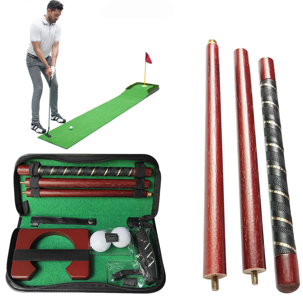 Putting Portable Golf Putter Set Gift Sports Practice Ball Holder Wood Travel Carry Case Training Aids Indoor Equipment Mini