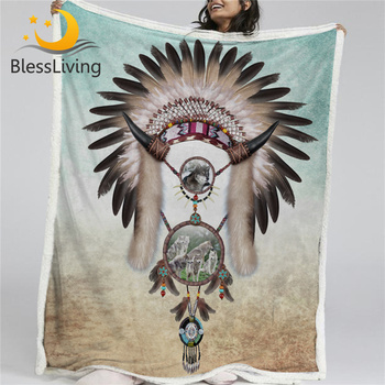 BlessLiving Wolf Dreamcatcher Blanket Feather Beads Sherpa Fleece Blanket Boy Western Bed Couch manta Gray Teal Bedding