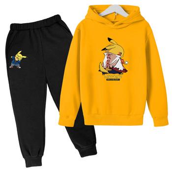 Pokemon bluza z kapturem dziewczyny ubrania Anime Pikachu bluza z kapturem chłopcy ubrania dla dzieci moda uliczna odzież chłopcy Jogging ubrania zestaw na co dzień tanie i dobre opinie HMXRBY COTTON Damsko-męskie 4-6y 7-12y 12 + y CN (pochodzenie) CZTERY PORY ROKU Zestawy Brak 4T-14T Pełne REGULAR Dobrze pasuje do rozmiaru wybierz swój normalny rozmiar