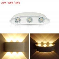 LED Wall światła na zewnątrz wodoodporny nowoczesny Nordic styl kryty 2W 6W 8W kinkiety salon ganek lampy ogrodowe AC85 265V w Wewnętrzne kinkiety LED od Lampy i oświetlenie na