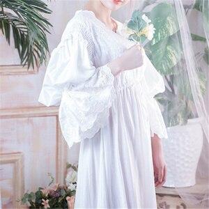 Image 4 - Wiktoriańskie koszule nocne Sleepshirts Vintage bielizna nocna kobiety bielizna nocna z długim rękawem wysoka talia popędzający noc Maxi sukienka Plus rozmiar T282