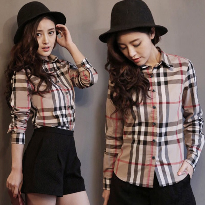 2019 Spring And Summer Korean-style Couples Slim Fit Shirt Lively Social Fella Trend Of Fashion Long Sleeve Plaid Shirt