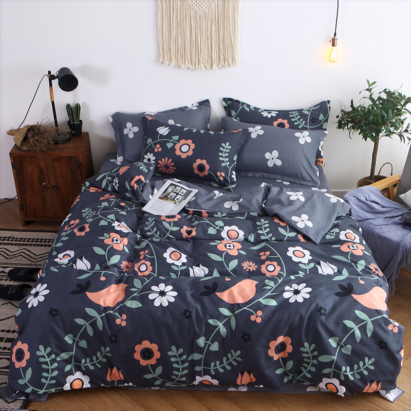 Flower Printing Bedding Set 2pcs /3pcs/4pcs Duvet Cover Set 1 Quilt Cover+1 Flat Sheet +1/2Pillowcases Twin Full Queen King