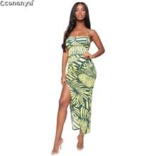 Women Sling Dress 2019 Sleeveless High Waist Print Dress Ruffled Irregular Split Hem Sweet Dress