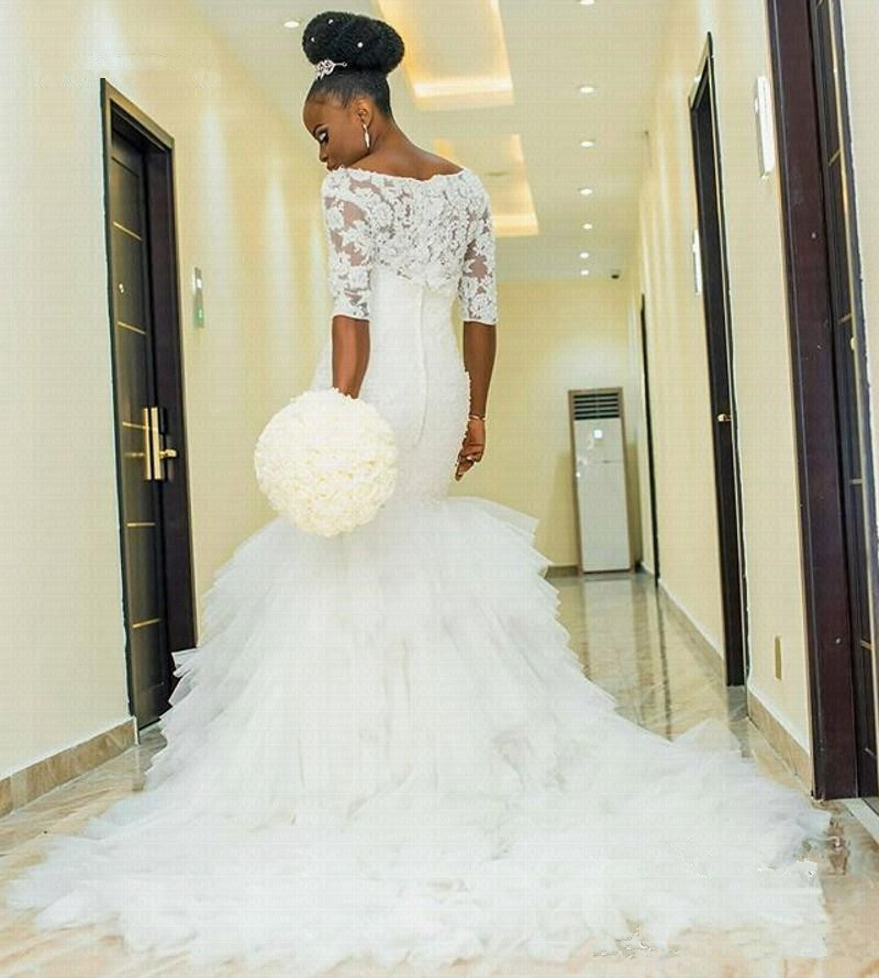 Ruffles Mermaid Wedding Dresses 2020 Half Sleeves Appliques Marriage Dress Elegant African Women Bridal Gowns