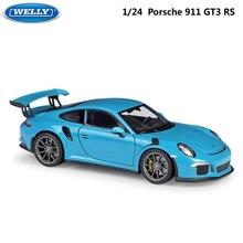 Simulador de carro aveludado 1:24 escala, brinquedo de carro porsche 911 gt3 rs, carro de liga de metal para esportes presente para crianças
