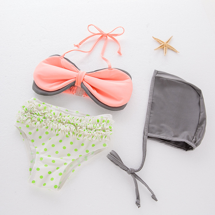 Girls' Two-piece Swimsuit Large Butterfly Bowknot Swimwear Children Hot Springs Tour Bathing Suit