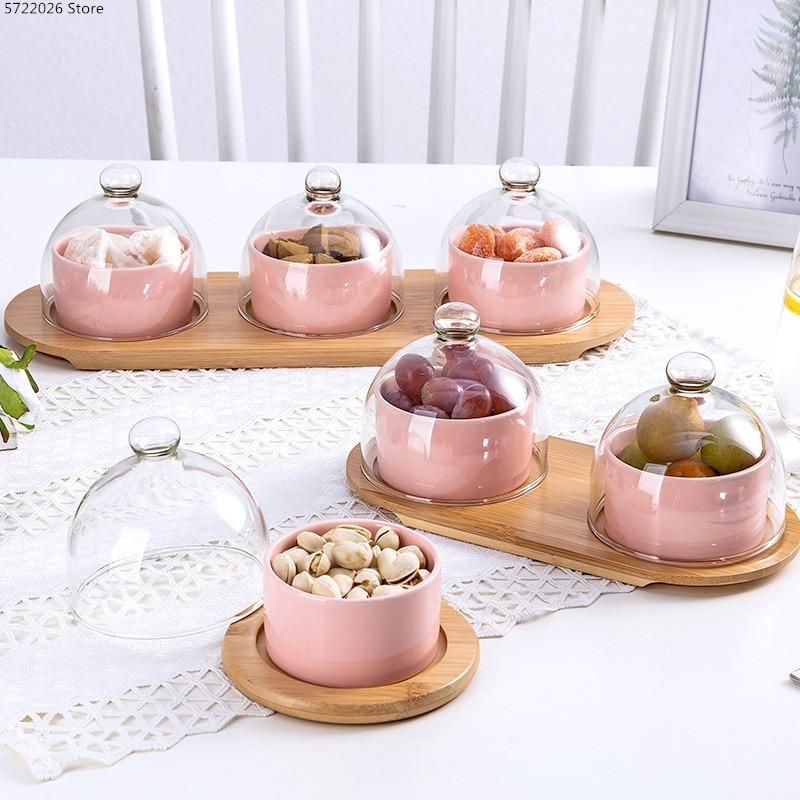 Креативная миска для десерта, керамическая посуда, миска для торта, современная стеклянная крышка для гостиной, закуска, сухофрукты, поднос для фруктов|Блюдца и тарелки|   | АлиЭкспресс