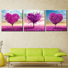 HD Prints Posters Modular Canvas Pictures 3 Pieces Roseflower Tree Landscape Paintings Home Decor for Living Room COLOMAC(China)