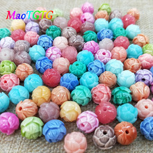 Multicolored Round Synthetic Coral Beads For Jewelry Making Necklace Bracelet 10.5mm Carved DIY Beads Accessories Wholesale natural stone coral beads round shape loose beads isolation beads for jewelry making diy for bracelet necklace accessories