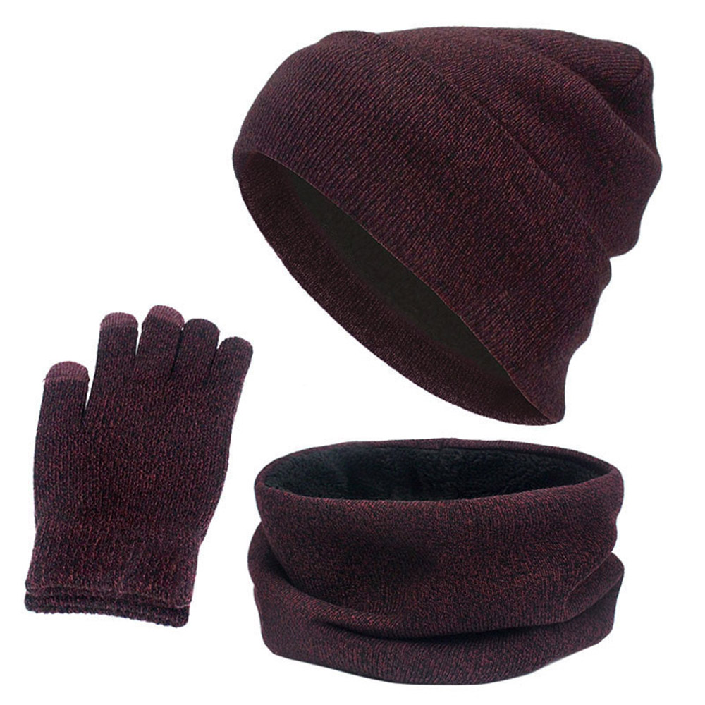 Women And Men 3Pcs/Set Winter Warm Hat Scarf Gloves Set Fashion Knitted Beanie Cap Fleece Scarf Neck Warmer Touch Screen Gloves