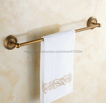 цена Towel Bars Single Rail Antique Brass Wall Shelf Towel Rack Hanger Bath Shelves Bathroom Accessories Towel Holder Nba085 онлайн в 2017 году