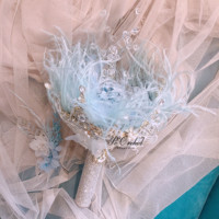 PEORCHID Crystal Feathers Handmade Wedding Bouquet Luxury Blue Bridal Brooch Bouquet European Diamond Crown flowers Bouquet