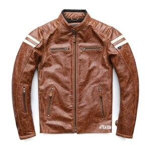 Image 2 - オートバイの革のジャケット男性 100% 本物の牛革革natrualスキンコートの男性スリムフィット爆撃機バイカーレザージャケットコート秋M218