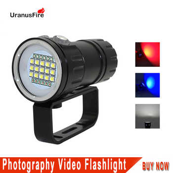 LED Diving Flashlight Underwater 100M xml2 Blue White Red light Photography Video Camera Tactical Scuba Video Dive Lamp - DISCOUNT ITEM  35 OFF Lights & Lighting
