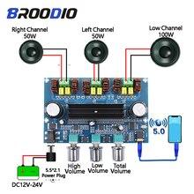 بلوتوث 5.0 TPA3116D2 مكبر كهربائي رقمي مجلس 2.1 قناة 2*50 واط + 100 واط ستيريو الطاقة الصوت فئة D باس جهاز تضخيم الصوت