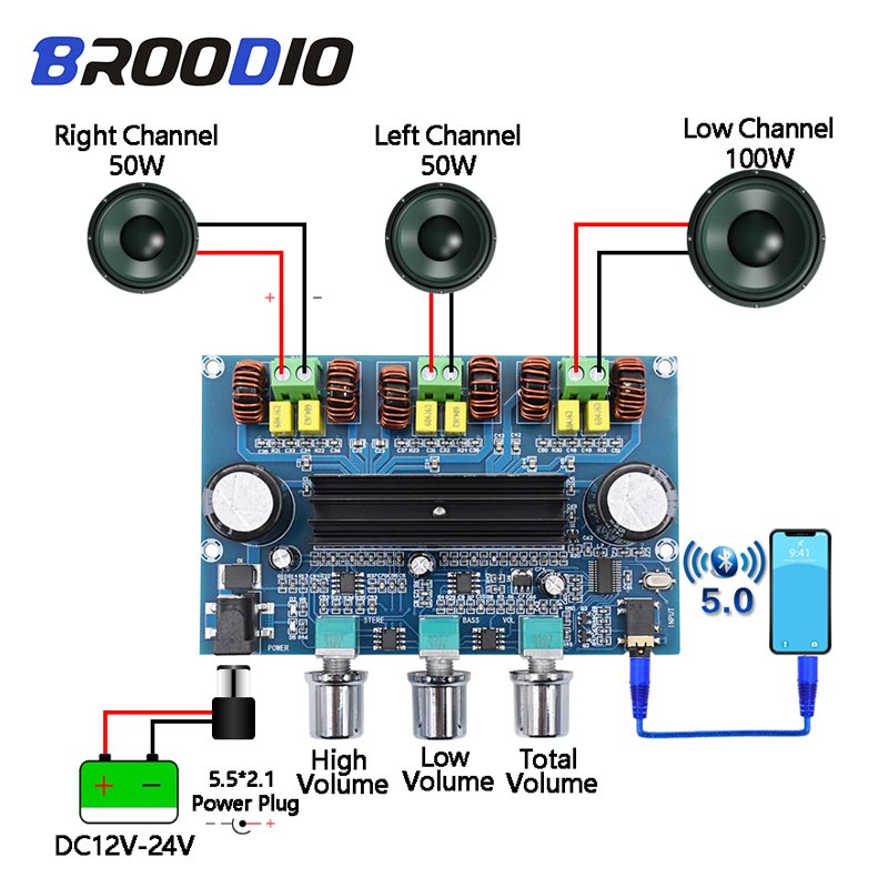 50 W Heaveant Placa amplificadora Salida de subwoofer est/éreo de 100 W Entrada Bluetooth USB TF Placa amplificadora de 2.1 Canales Digital 50 W