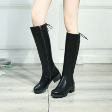 Plus Size 34-43 Womens Winter Shoes Knee High Boots Quality Faux Suede Brand Thigh Zip Fashion Punk Women