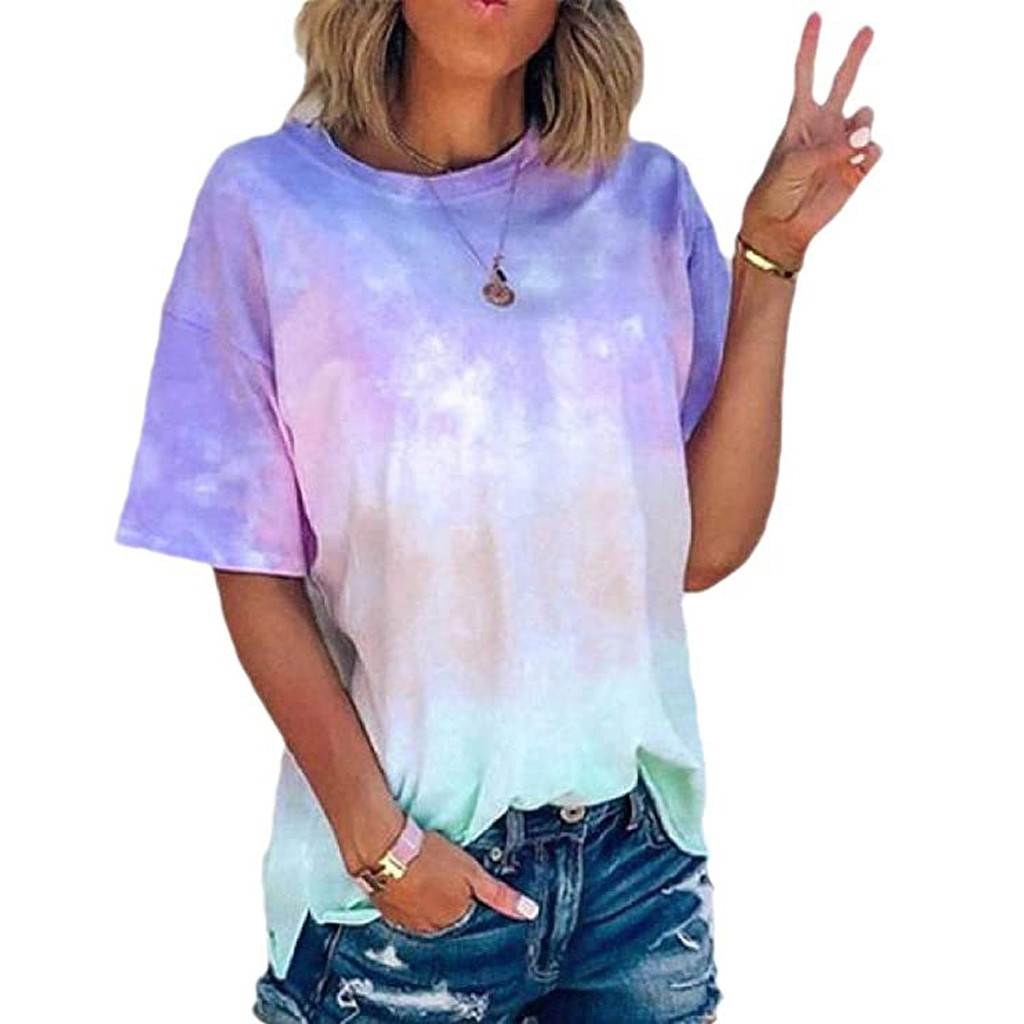 Womens Shirts Girls Solid Color Loose Short Sleeve Summer Crop Top Twist Knot Casual T-Shirt Blouse by SIN+MON