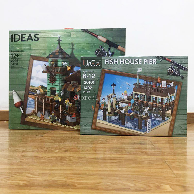 New UG-30101 Old Fishing House Pier Set Compatible 16050 21310 Building Bricks Blocks Educational Toy Child Birthday Gifts