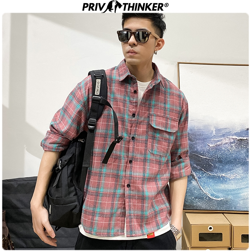 Privathinker Spring Plaid Casual Shirts For Men 2020 Korean Man Office Loose Blouse Fashion Collage Male Long Sleeve Shirts 5XL