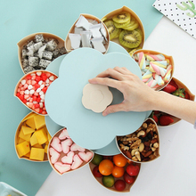 Storage Organizer Box Plastic Rotating Tray for Christmas Fruit Double Layer Snack Candy Plates Petal-shape Dried