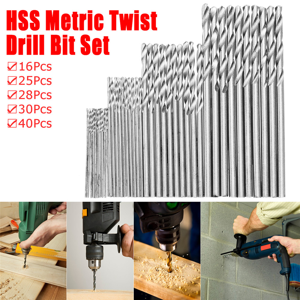 HSS Metric Twist Drill Bit Set High Speed Steel Drill Bits 16/25/28/30/40Pcs Power Drilling Tools For Electric Drill Woodworking