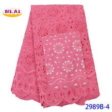 NIAI Nigerian Cotton Swiss Voile Lace Material 2020 High Quality Embroidered African Dry Lace Fabric For Women Dress XY2989B-4