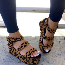 Women Summer High Heels Leopard Sandals Wedges Shoes Woman PU Leather Gladiator Buckle Open Toe Ankle Strap Platform Sandals choudory open toe high heel platform wedges mixed colors gladiator sandals buckle zipper leather fashion dunk low shoes woman