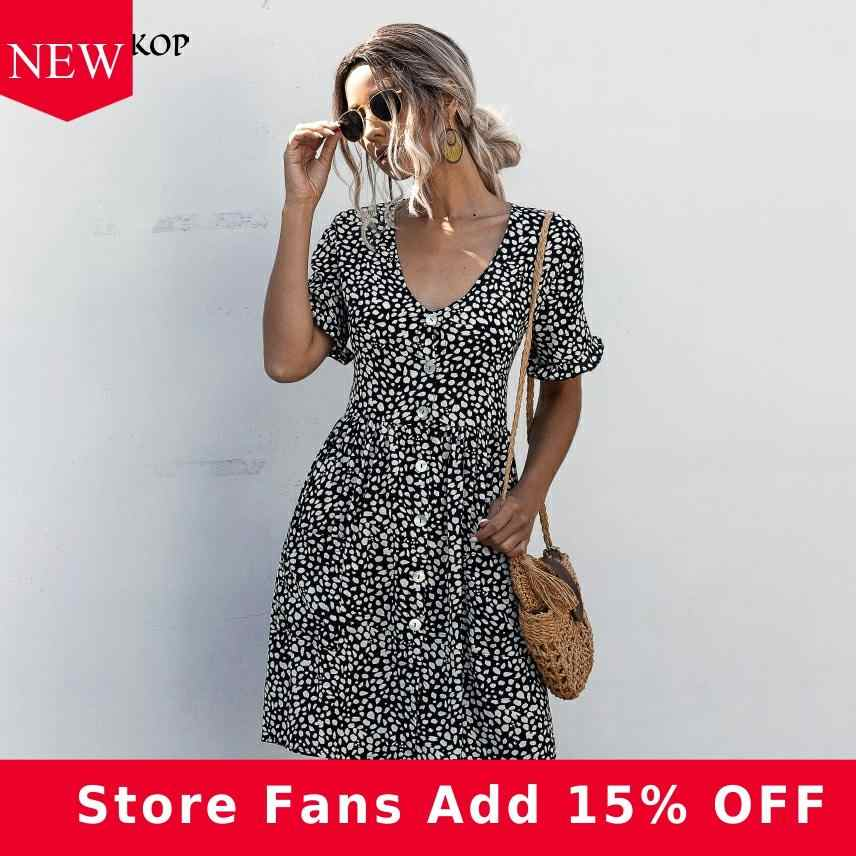 Dress Women Leopard Print Pockets Casual Ruched Summer Short Mini Dresses Buttons 2020 Fashion Black Everyday Clothes For Women