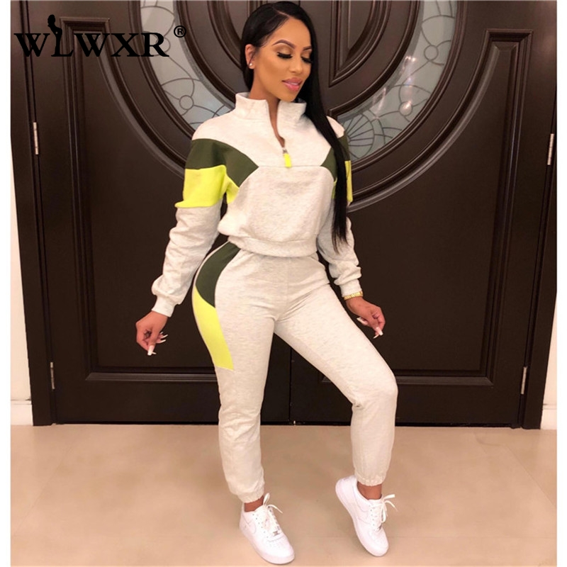 WLWXR Autumn Streetwear Sweat Suits Women Sport Suit Two Piece Set Top And Pants Female Ladies Tracksuit Casual Matching Set
