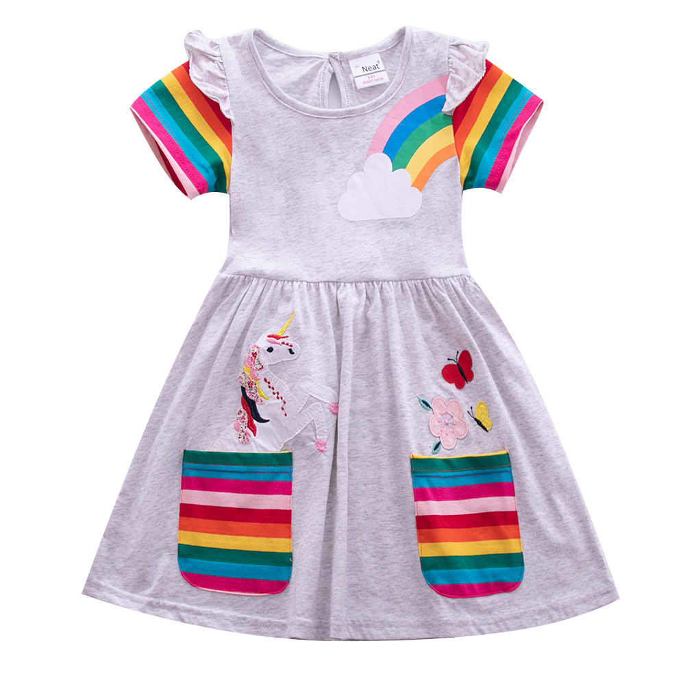 JUXINSU pamuk yaz kız kısa kollu elbise Unicorn karikatür gökkuşağı şerit çiçek Pony kızlar günlük elbiseler 3-8 yıl