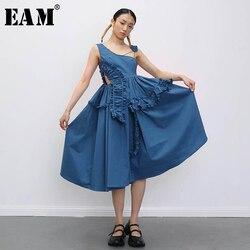 [EAM] Women Asymmetrical Drawstring RufflesDress New Asymmetrical Collar Sleeveless Loose Fit Fashion Spring Summer 2020 1T909