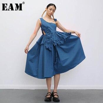 [EAM] Women Asymmetrical Drawstring RufflesDress New Asymmetrical Collar Sleeveless Loose Fit Fashion Spring Summer 2020 1T909 фото