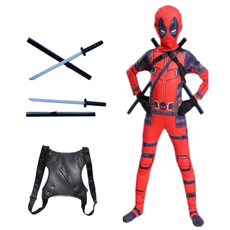 4-14y criança adulto mascarado super-herói cosplay traje de deadpoo traje menino um bodysuit completo para festa de halloween traje do miúdo
