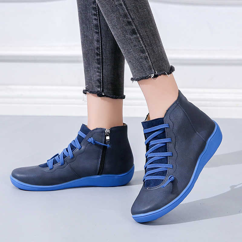 Lucyever kadın PU deri yarım çizmeler sonbahar kış çapraz Strappy Vintage kadınlar kovboy ayakkabı kadın Retro çalışma Botas Mujer