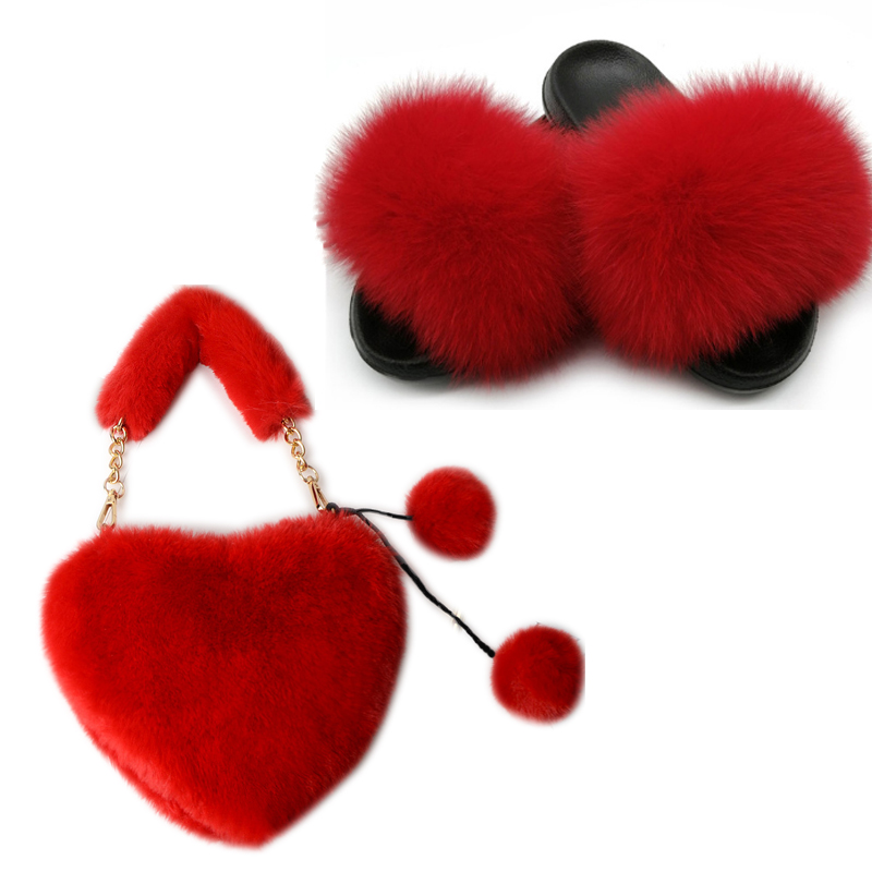 Ladies Summer Real Fox Fur Slippers Fashion Plush Fur Slippers Sweet Plush Bags Luxury Slippers women fur slides Brand slippers