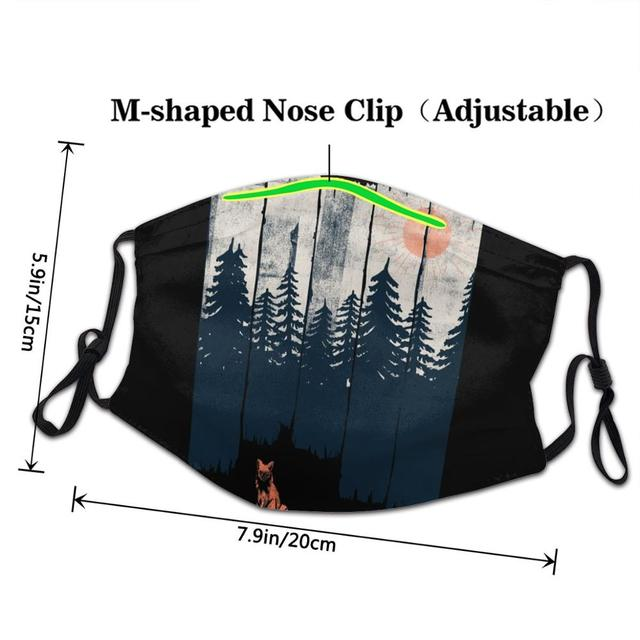 Thin Face Mask Black Anti-Dust Cotton A Fox In The Wild Printing Mouth Mask Kpop teeth mouth Muffle Face Mouth Masks Women Men 3