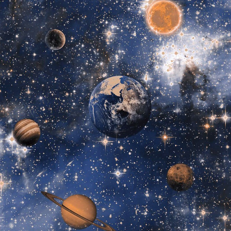 Outer Space Planet Cosmic Starry Sky Planetary Wallpaper Ceiling Affixed Wallpaper CHILDREN'S Room Blue Theme Room Wallpaper