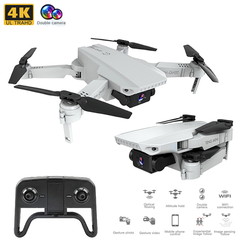 KF609 4K HD Camera RC Mini Foldable Drone with WIFI FPV Selfie Optical Flow Stable Height Fly Quadcopter RC Helicopter Color box