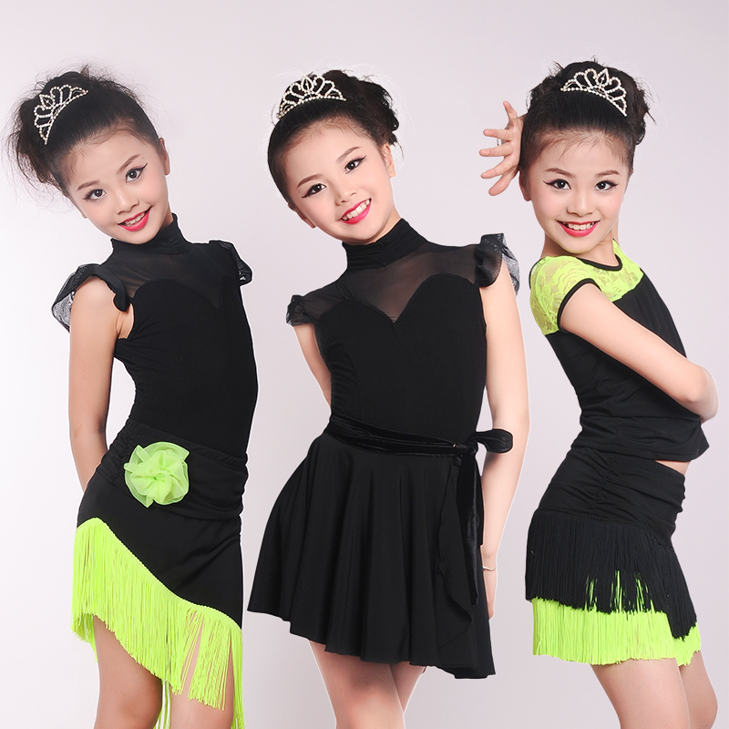 Girls Kids Lace Splice Latin Dance Dress Suits Children Fringe Skirt Ballroom Modern Dance Costumes