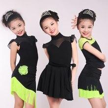 Kızlar çocuklar için dantel Splice Latin dans elbise takım elbise çocuk saçak etek balo salonu Modern dans kostümleri