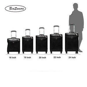 Image 4 - BeaSumore 男性本革ローリング荷物スピナーレトロ牛革ホイールスーツケース 16 インチキャビンビジネストロリー