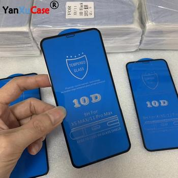 100pcs/lot Wholesale 10D Glass Film For iPhone 12 Mini 11 Pro Max XS XR X 8 7 6 S Plus Full Coverage Cover Screen Protector Film